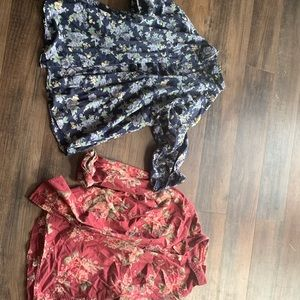two floral women's button ups